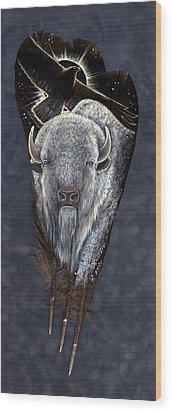 Prairie Eclipse Wood Print by Sandra SanTara