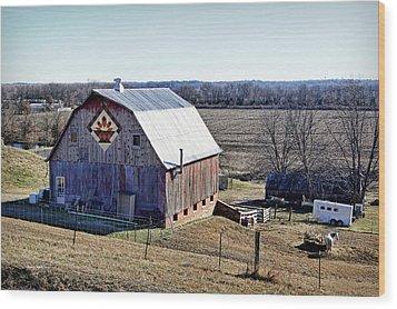 Wood Print featuring the photograph Prairie Flower Quilt Barn by Cricket Hackmann