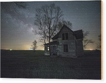 Wood Print featuring the photograph Prairie Gold And Milky Way by Aaron J Groen