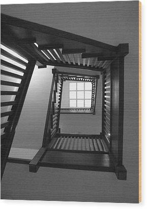 Prairie House Stairs Wood Print by Anna Villarreal Garbis