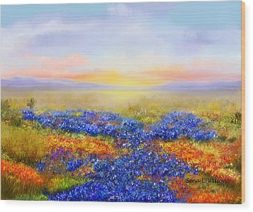 Wood Print featuring the painting Prairie In Bloom by Sena Wilson