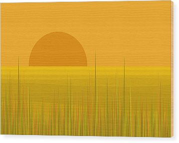 Prairie  Sundown Wood Print by Val Arie
