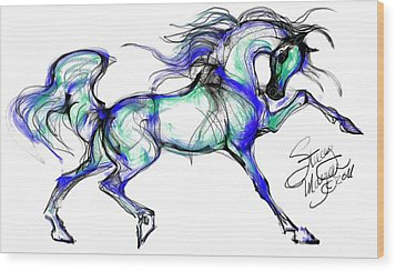 Prancing Arabian Horse Wood Print by Stacey Mayer