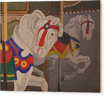 Wood Print featuring the painting Prancing Pair by Paul Amaranto