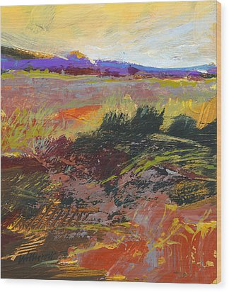 Prarie Sketch Wood Print by Dale  Witherow