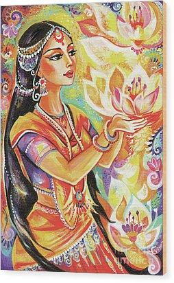 Pray Of The Lotus River Wood Print