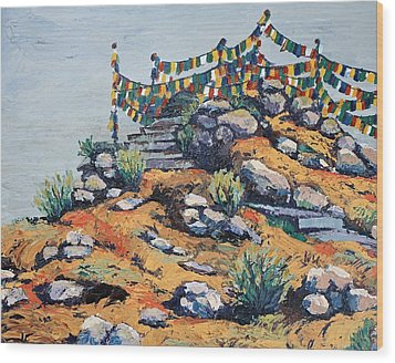 Prayer Flags In The Mist Wood Print