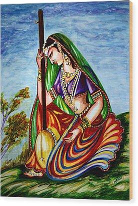 Krishna - Prayer Wood Print