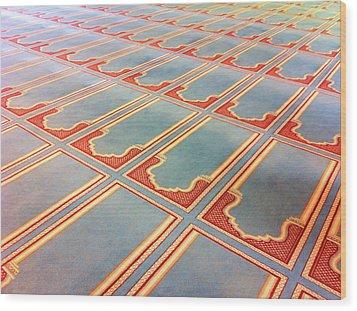 Prayer Mats Printed On Mosque Carpet Wood Print by Jill Tindall