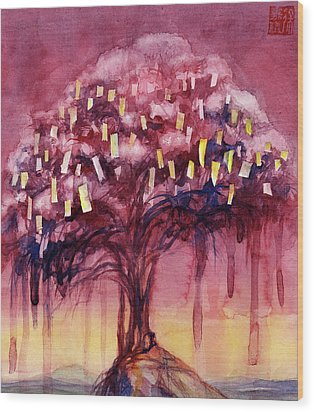 Prayer Tree II Wood Print by Janet Chui