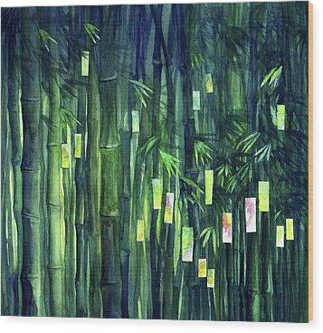 Prayer Tree IIi Wood Print by Janet Chui