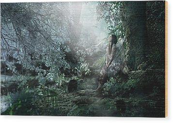 Praying Angel Wood Print by Kume Bryant