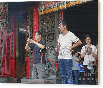 Wood Print featuring the photograph Praying At A Temple In Taiwan by Yali Shi