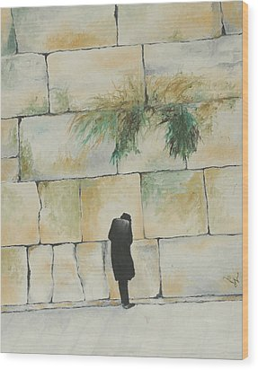 Praying At The Western Wall Wood Print