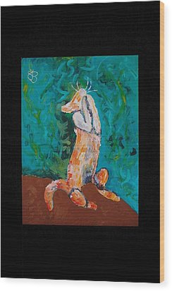 Wood Print featuring the painting Praying Cat by AJ Brown