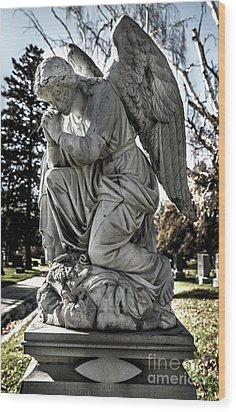 Wood Print featuring the photograph Praying Cemetery Angel  by Gary Whitton