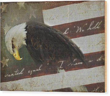 Praying For Our Country Wood Print by Kathy Jennings