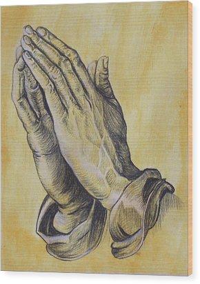 Praying Hands Wood Print by Donovan Hubbard