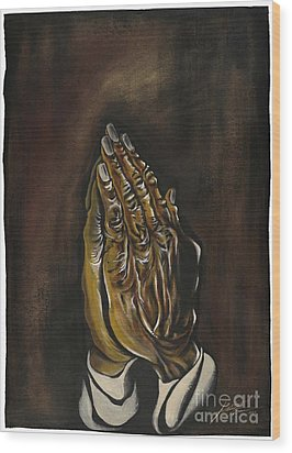 Praying Hands Wood Print by Keith  Thurman