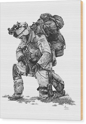 Praying Soldier Wood Print by Murphy Elliott