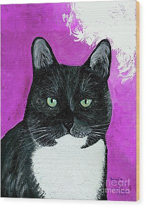 Wood Print featuring the painting Precious The Kitty by Ania M Milo