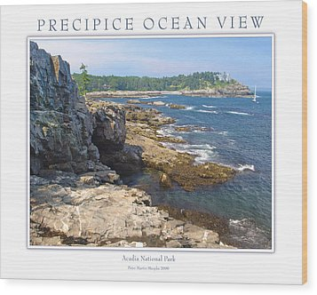 Precipice Ocean View Wood Print by Peter Muzyka