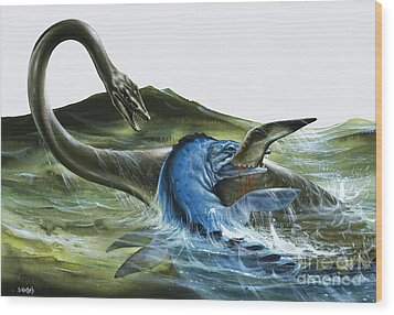 Prehistoric Creatures Wood Print