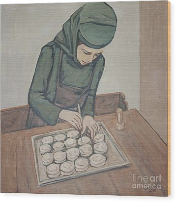 Wood Print featuring the painting Preparing Communion Bread by Olimpia - Hinamatsuri Barbu