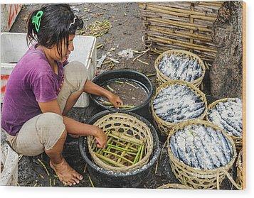 Preparing Pindang Tongkol Wood Print by Werner Padarin