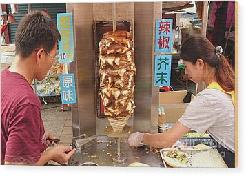 Wood Print featuring the photograph Preparing Shawarma Meat In Bread Buns by Yali Shi
