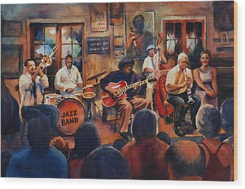 Preservation Hall Jazz Band Wood Print by Sue Zimmermann