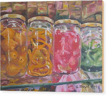 Preserves Spanish Market Wood Print by Lisa Boyd