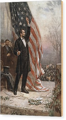 President Abraham Lincoln Giving A Speech Wood Print by War Is Hell Store