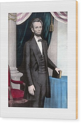 President Abraham Lincoln In Color Wood Print by War Is Hell Store