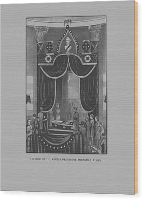 President Abraham Lincoln Lying In State Wood Print by War Is Hell Store