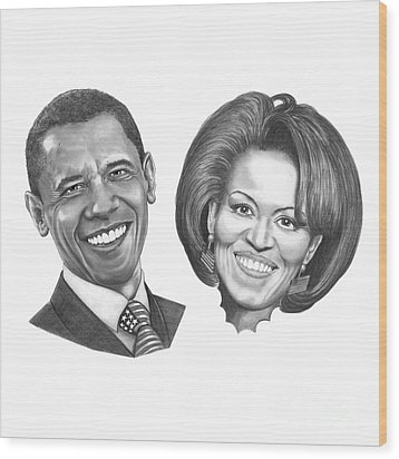 President And First Lady Obama Wood Print by Murphy Elliott