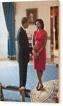 President And Michelle Obama Talk Wood Print by Everett