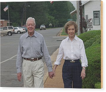 President And Mrs. Jimmy Carter Wood Print