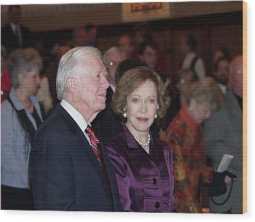 Wood Print featuring the photograph President And Mrs. Jimmy Carter Nobel Celebration by Jerry Battle