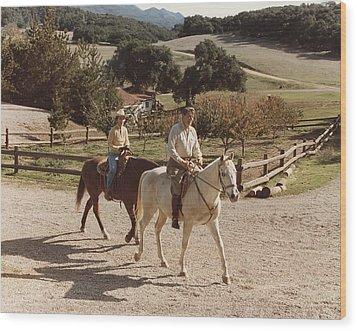 President And Nancy Reagan Horseback Wood Print by Everett