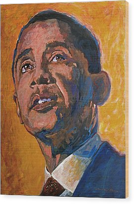 President Barack Obama Wood Print by David Lloyd Glover