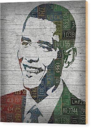 President Barack Obama Portrait United States License Plates Edition Two Wood Print by Design Turnpike