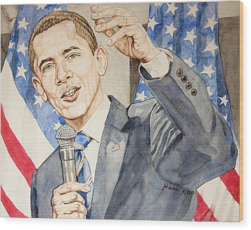 President Barack Obama Speaking Wood Print by Andrew Bowers