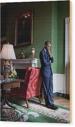 President Barack Obama Waits Wood Print by Everett