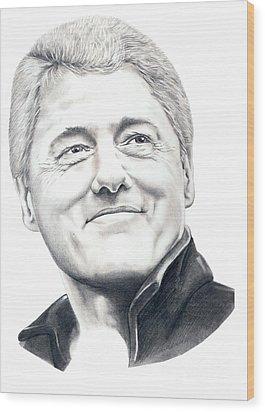 President Bill Clinton Wood Print by Murphy Elliott