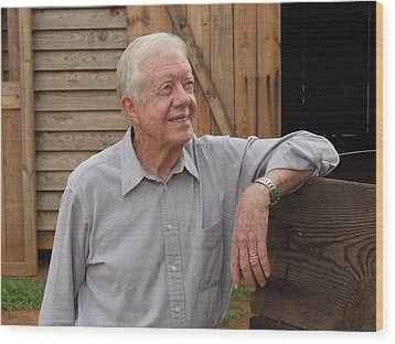 Wood Print featuring the photograph President Carter At His Boyhood Farm by Jerry Battle