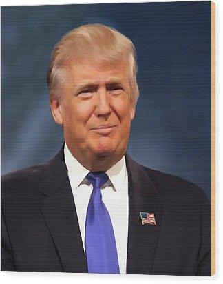President Donald John Trump Portrait Wood Print by Movie Poster Prints
