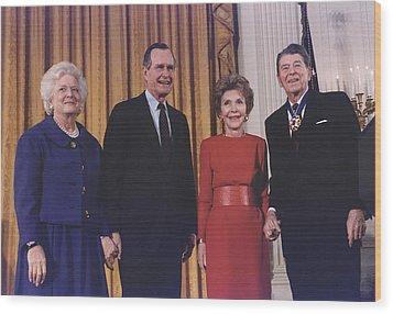 President George Bush Presents Wood Print by Everett
