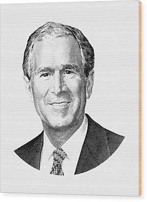 President George W. Bush Graphic - Black And White Wood Print