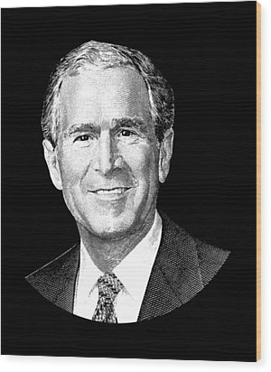 President George W. Bush Graphic Wood Print by War Is Hell Store